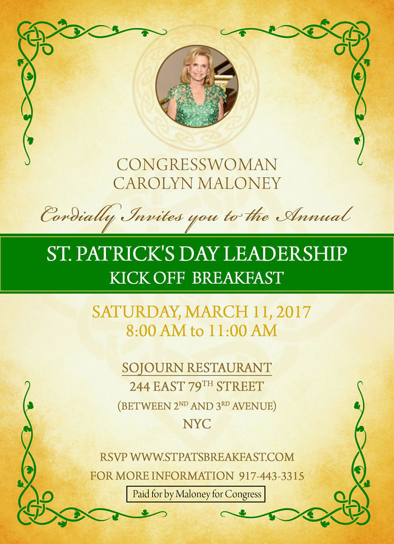 Congresswoman Carolyn Maloney's 2017 St. Patrick's Day Breakfast