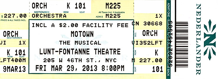 Motown Musical ticket